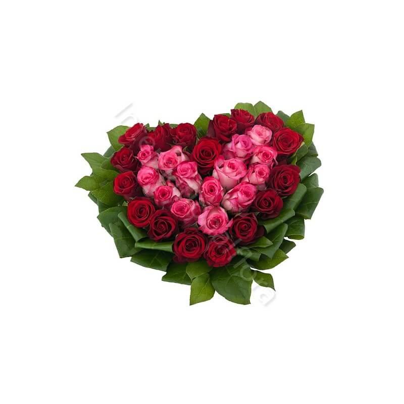 Cuore di Rose rosse e rosa