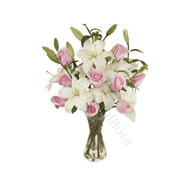 Bouquet di Rose rosa e Gigli bianchi internationalflora.com
