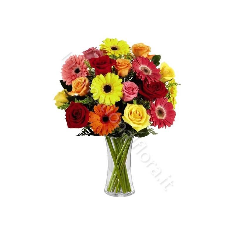 Bouquet di Rose e Gerbere colorate internationalflora.com