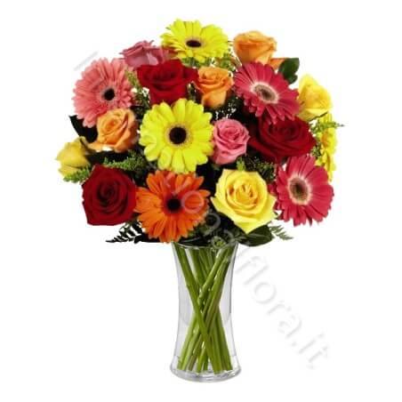 Bouquet di Rose e Gerbere colorate