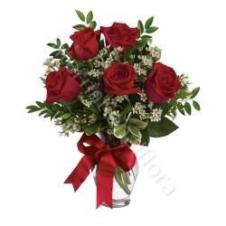 Bouquet di 5 Rose rosse