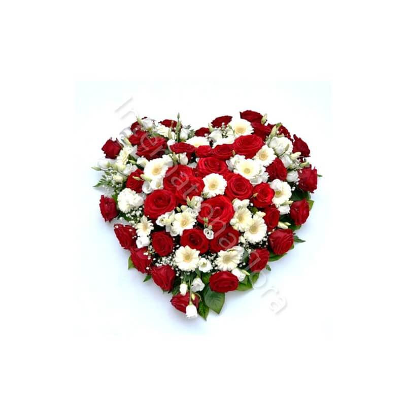 Cuore di Rose rosse e fiori bianchi