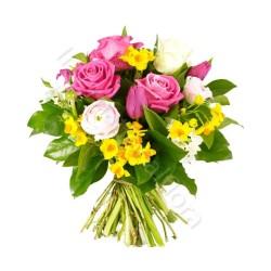 Boquet di Roselline fucsia e bianche e Fiorellini gialli