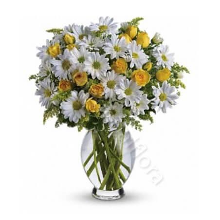 Bouquet di Margherite bianche e Roselline gialle