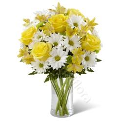 Bouquet di Rose gialle e Margherite bianche