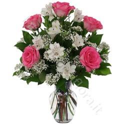 Boquet di Alstroemeria e Rose rosa