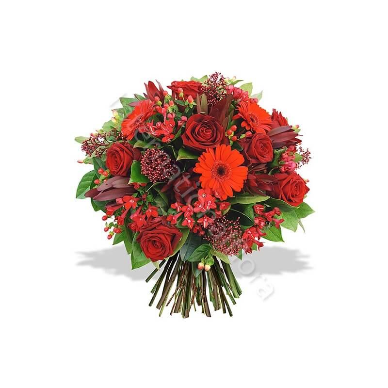 Bouquet di Rose e Gerbere rosse