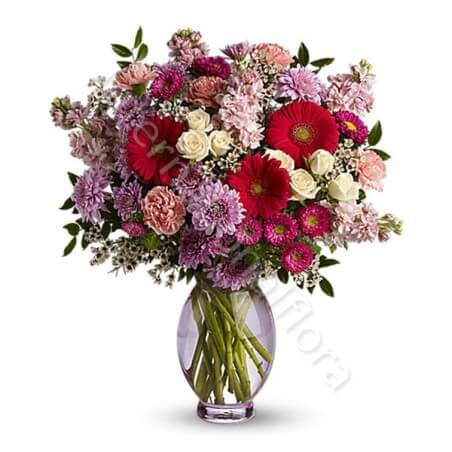 Bouquet di Fiorellini dai toni del rosso