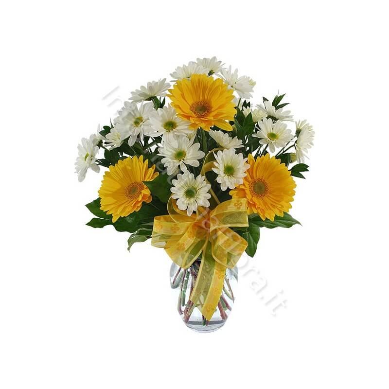 Bouquet di Gerbere gialle e Margherite bianche internationalflora.com