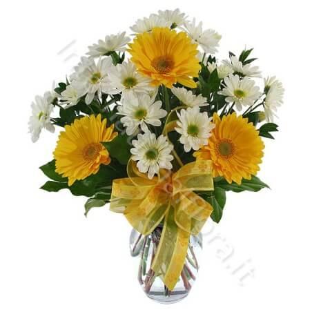 Bouquet di Gerbere gialle e Margherite bianche