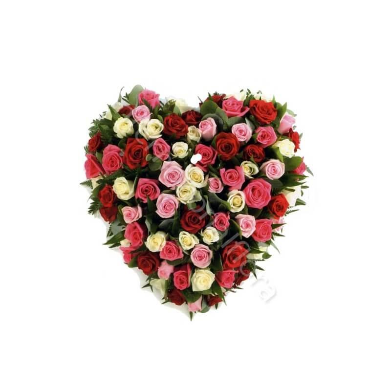 Cuore di Rose rosse, bianche e rosa internationalflora.com