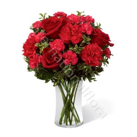 Bouquet di Rose rosse e Garofani rossi