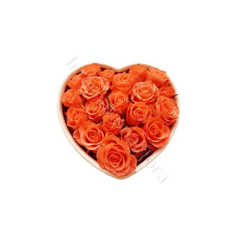 Cuore di Rose arancio internationalflora.com