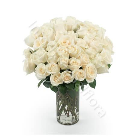 Bouquet di 50 Rose bianche