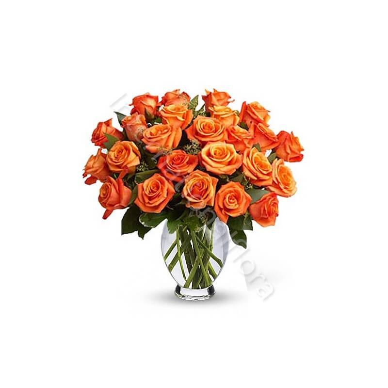 Bouquet di 24 Rose arancio internationalflora.com
