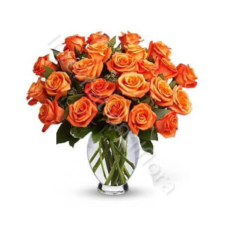Bouquet di 24 Rose arancio