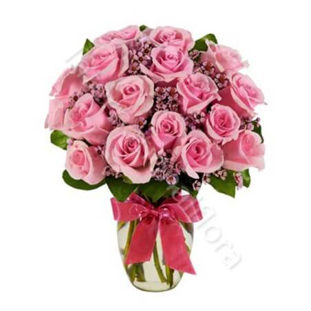 Bouquet di 18 Rose rosa