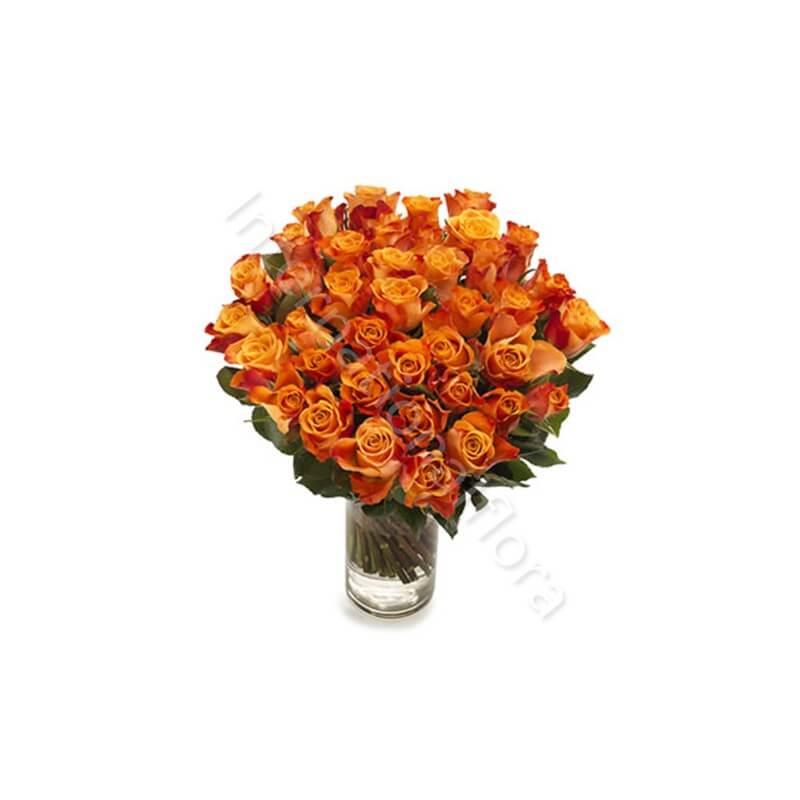 Bouquet di 50 Rose arancio internationalflora.com