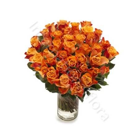 Bouquet di 50 Rose arancio