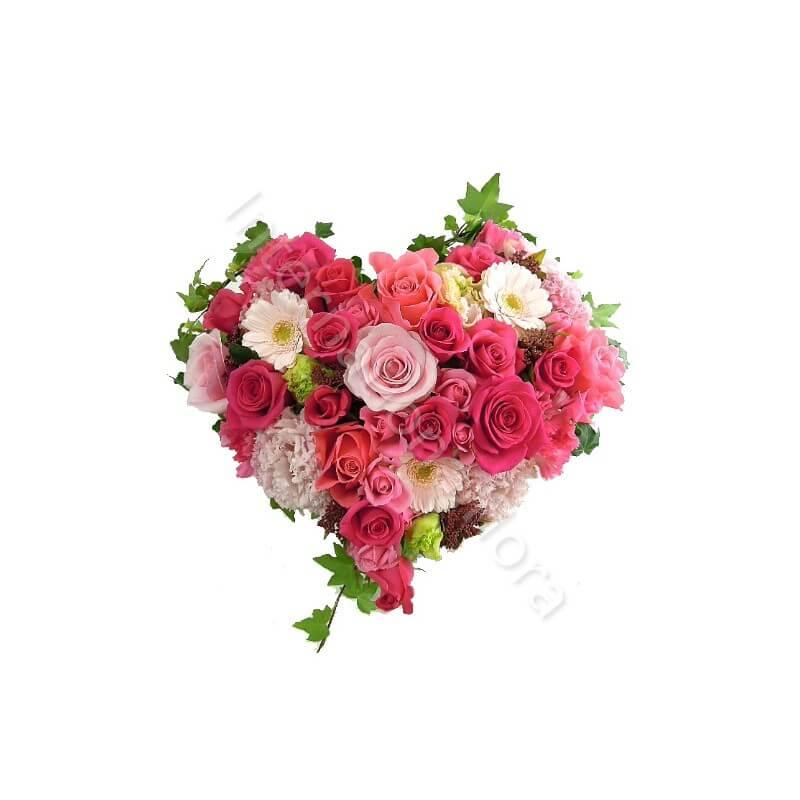 Cuore di Rose, Roselline e Gerbere internationalflora.com