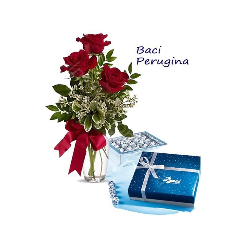 Scatola di Baci Perugina con Bouquet di 3 Rose rosse internationalflora.com