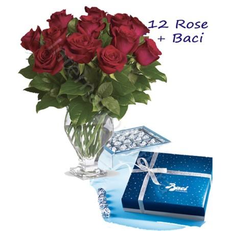 Scatola di Baci Perugina con 12 Rose rosse Medium