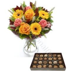 Bouquet Autunno con Scatola di Cioccolatini