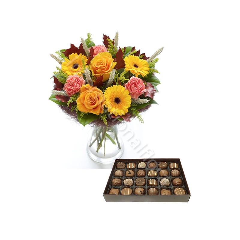 Bouquet Autunno con Scatola di Cioccolatini internationalflora.com