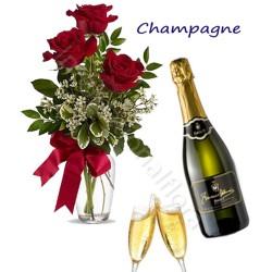 Bottiglia di Champagne con Bouquet di 3 Rose rosse