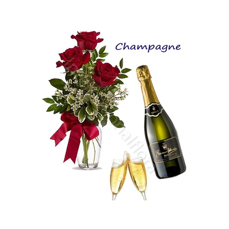Bottiglia di Champagne con Bouquet di 3 Rose rosse internationalflora.com