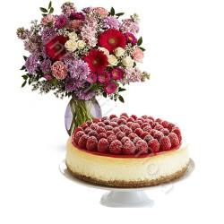 Torta Cheesecake con Bouquet di Fiori misti