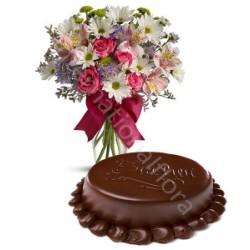 Torta Sacher con Bouquet Allegria