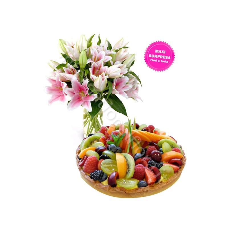 Crostata alla Frutta con Bouquet di Gigli internationalflora.com