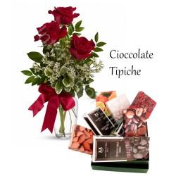 Cioccolato tipico con Bouquet di 3 Rose rosse