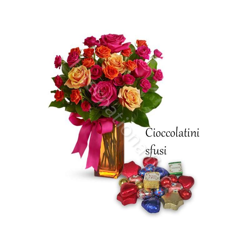 Bouquet Surprise di Roselline miste con Cioccolatini sfusi