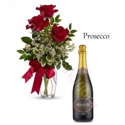 Bottiglia di Prosecco con Bouquet di 3 Rose rosse