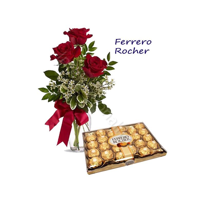 Scatola di Ferrero Rocher con Bouquet di 3 Rose rosse internationalflora.com