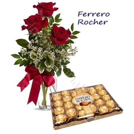 Scatola di Ferrero Rocher con Bouquet di 3 Rose rosse