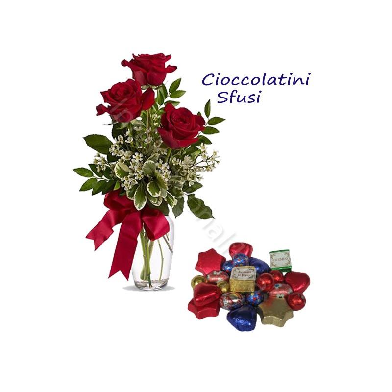 Sacchetto di Cioccolatini sfusi con Bouquet di 3 Rose rosse internationalflora.com