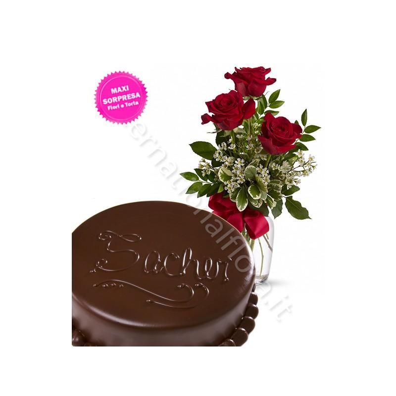 Torta Sacher con Tris di Rose rosse internationalflora.com