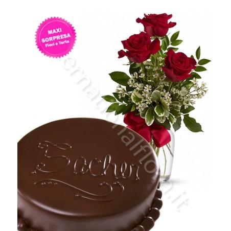 Torta Sacher con Tris di Rose rosse