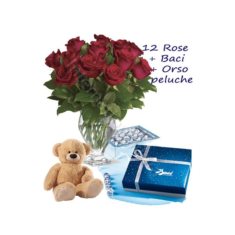 Scatola di Baci con Orsetto e 12 Rose rosse Medium internationalflora.com