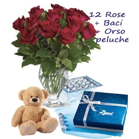 Scatola di Baci con Orsetto e 12 Rose rosse Medium