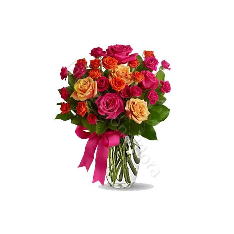Bouquet surprise di Roselline miste dai toni caldi internationalflora.com
