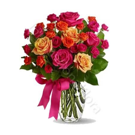 Bouquet surprise di Roselline miste dai toni caldi