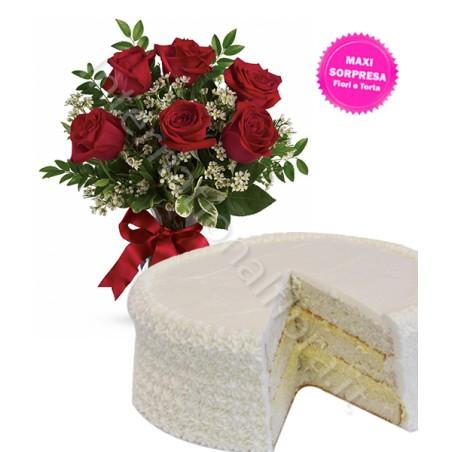 Torta alla Crema con Bouquet di sei Rose rosse