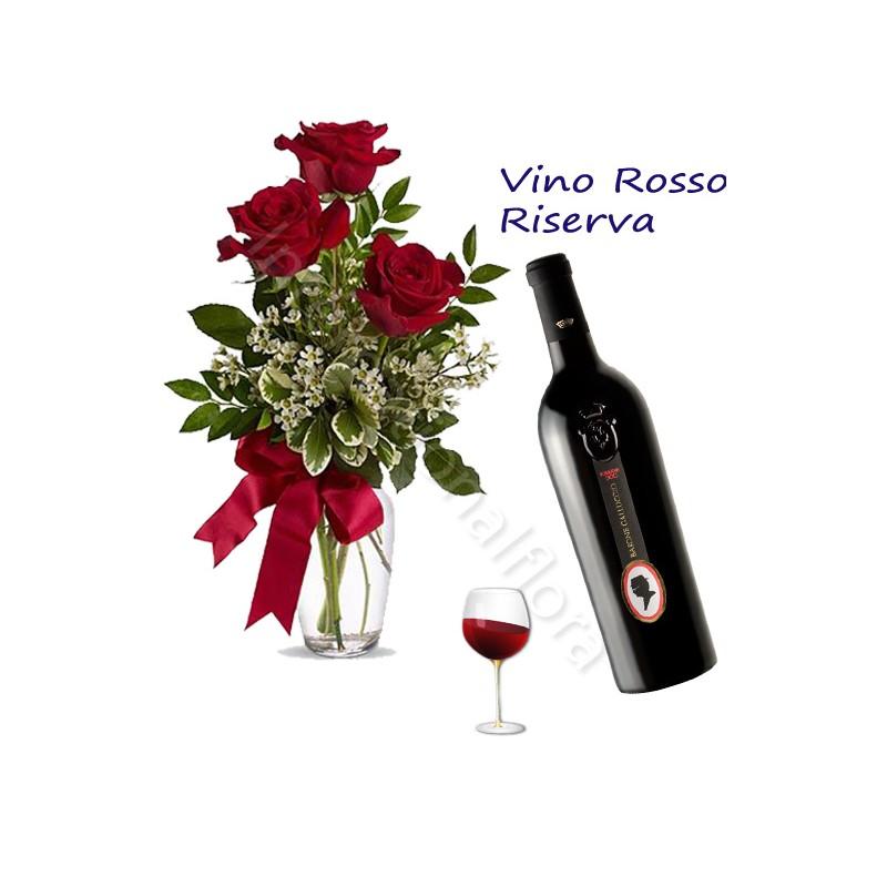 Bottiglia di Vino Rosso Riserva con Bouquet di 3 Rose rosse internationalflora.com
