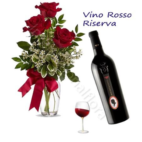 Bottiglia di Vino Rosso Riserva con Bouquet di 3 Rose rosse