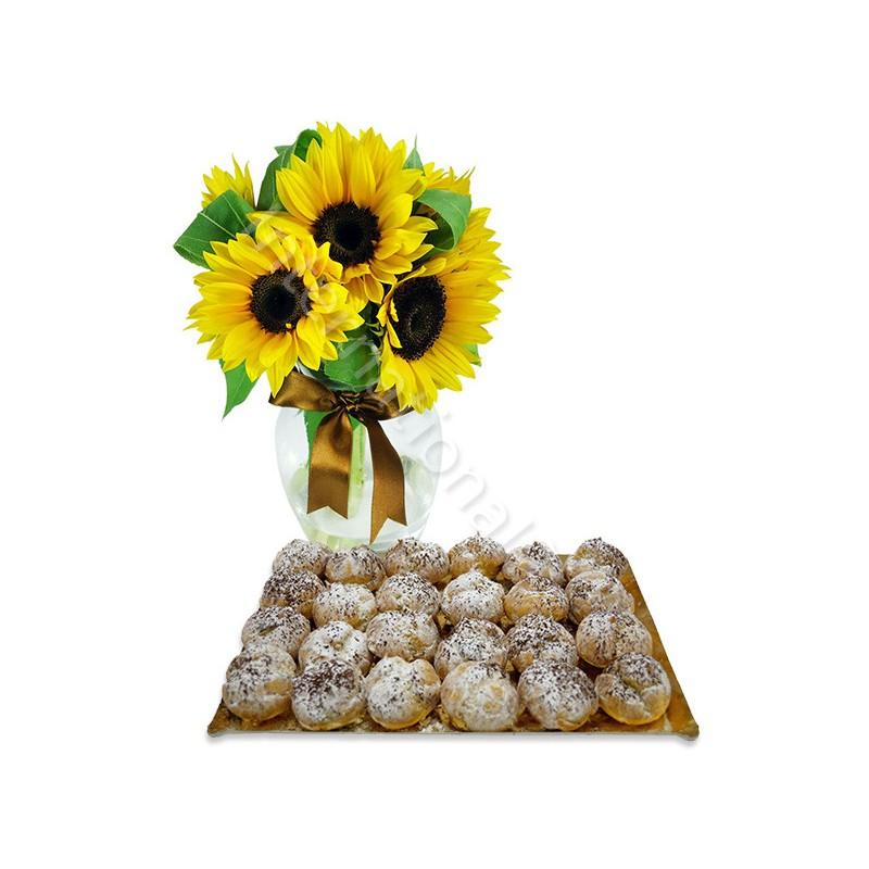 Bignè alla Crema Chantilly con Bouquet di Girasoli internationalflora.com