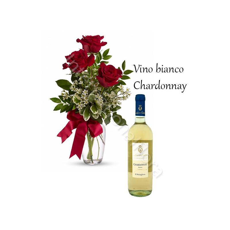 Bottiglia di Vino Bianco Chardonnay con Bouquet di 3 Rose rosse